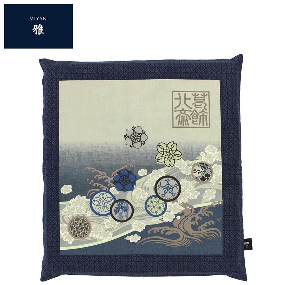 Japanese floor pillow cushion cover zabuton cotton Hokusai miyabi 55 ...