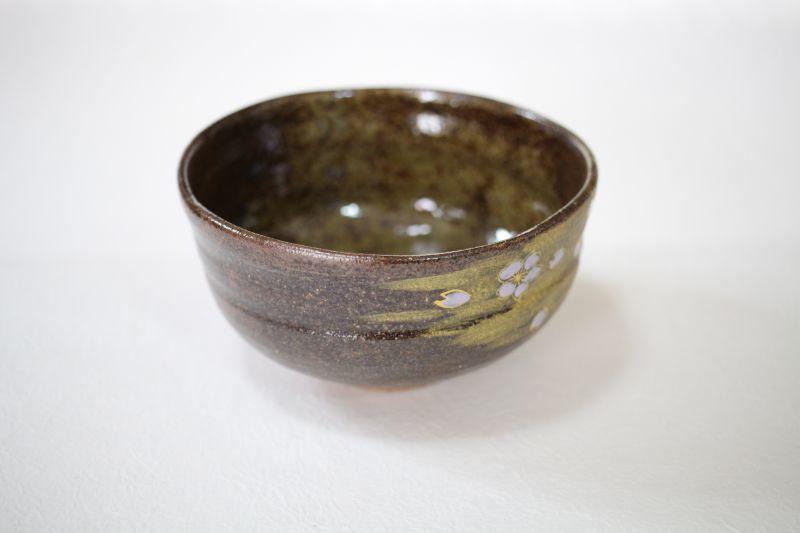 Kutani matcha chawan Japanese tea ceremony bowl gold Mt.Fuji Sakura