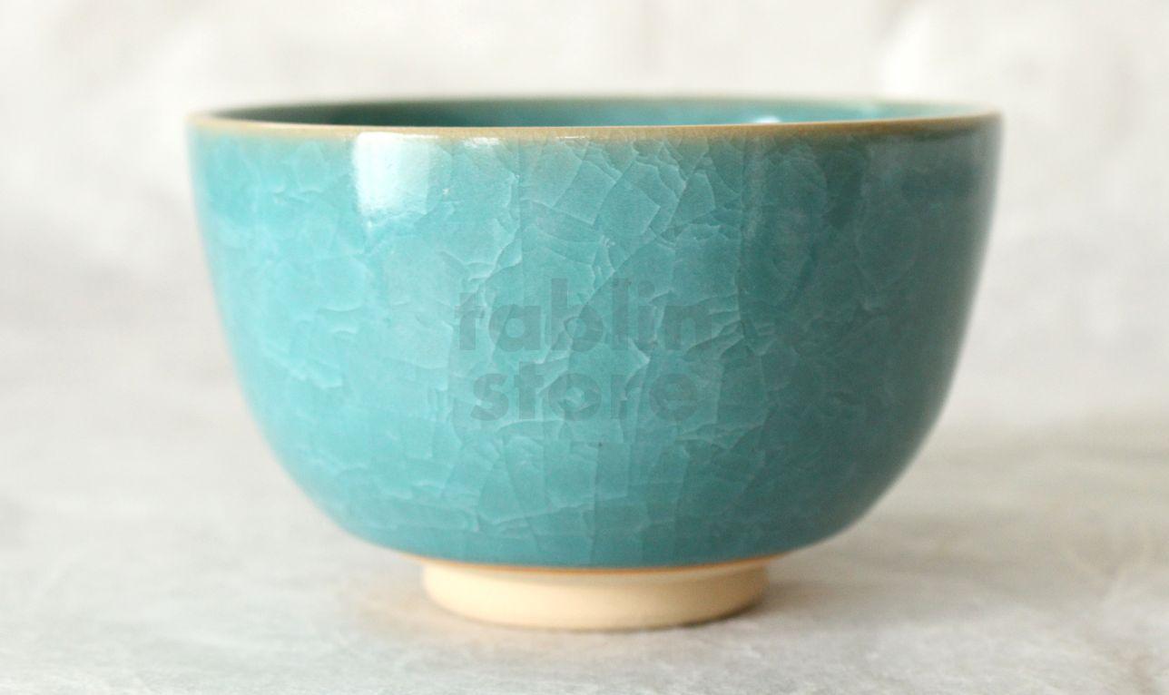 Kiyomizu Japanese pottery tea ceremony bowl matcha chawan blue hyoretsu Junzo
