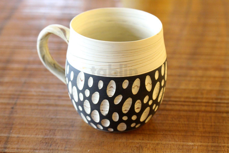 Lovely Tokoname Japanese pottery Coffee Mug tea cup hand carved polka-dot  MC57