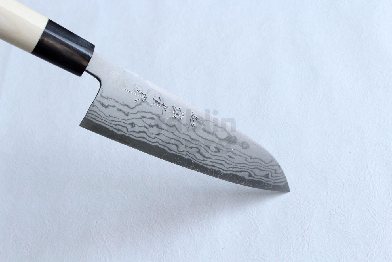 Shigeki Tanaka Blue 2 steel Suminagashi Damascus Hand forged Santoku ...