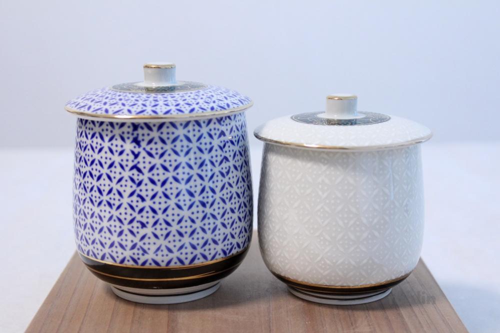 Kutani Porcelain Futatuki Yunomi Shippo Blue White