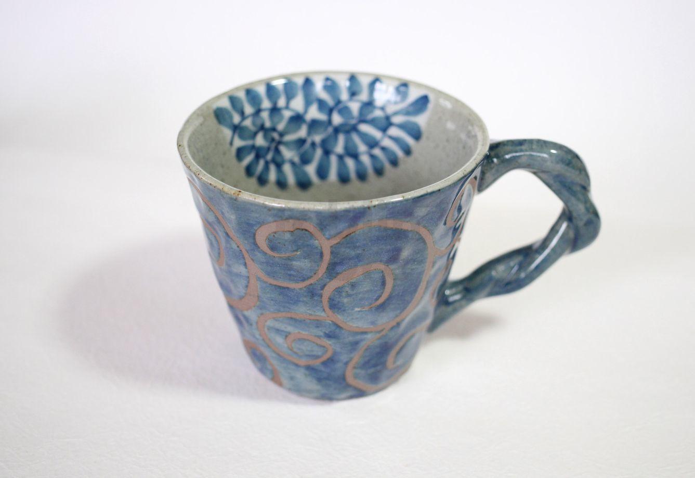 Arita Porcelain Japanese Tea Mug Cup Karakusa Blue 350ml