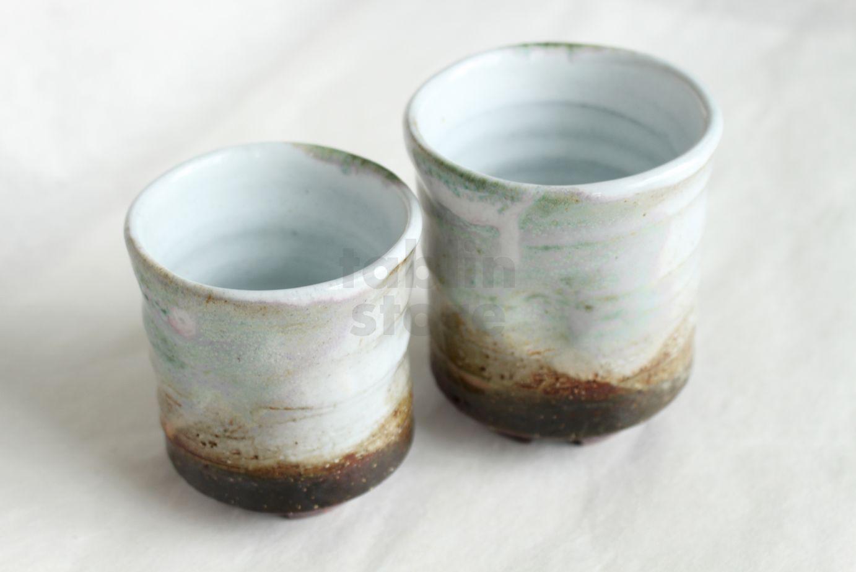 Hagi Ware Kumi Yunomi Japanese Tea Cups Pottery Sansai Seigan Yamane Set Of 2